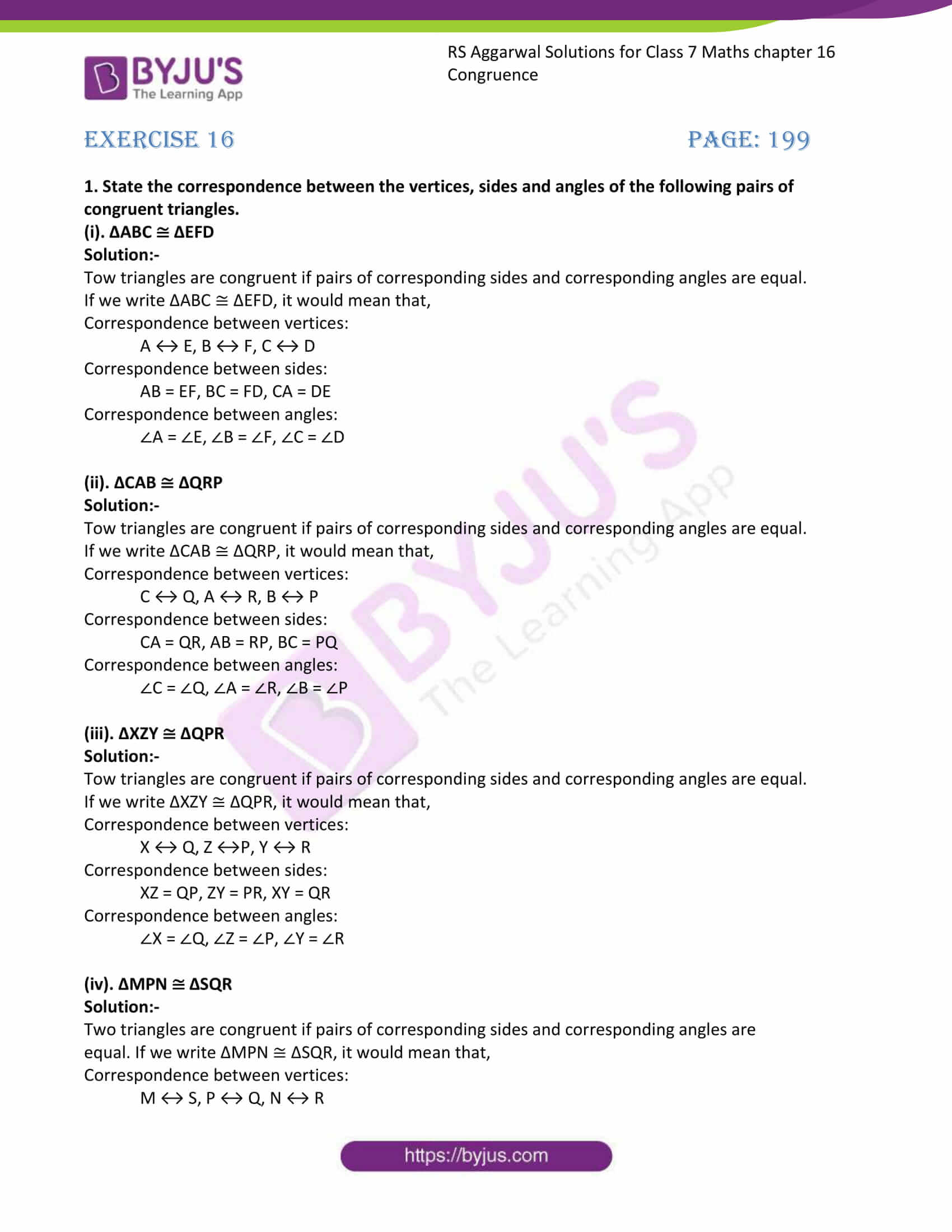 RS Aggarwal Solutions Class 7 Maths Chapter 16 Congruence 1