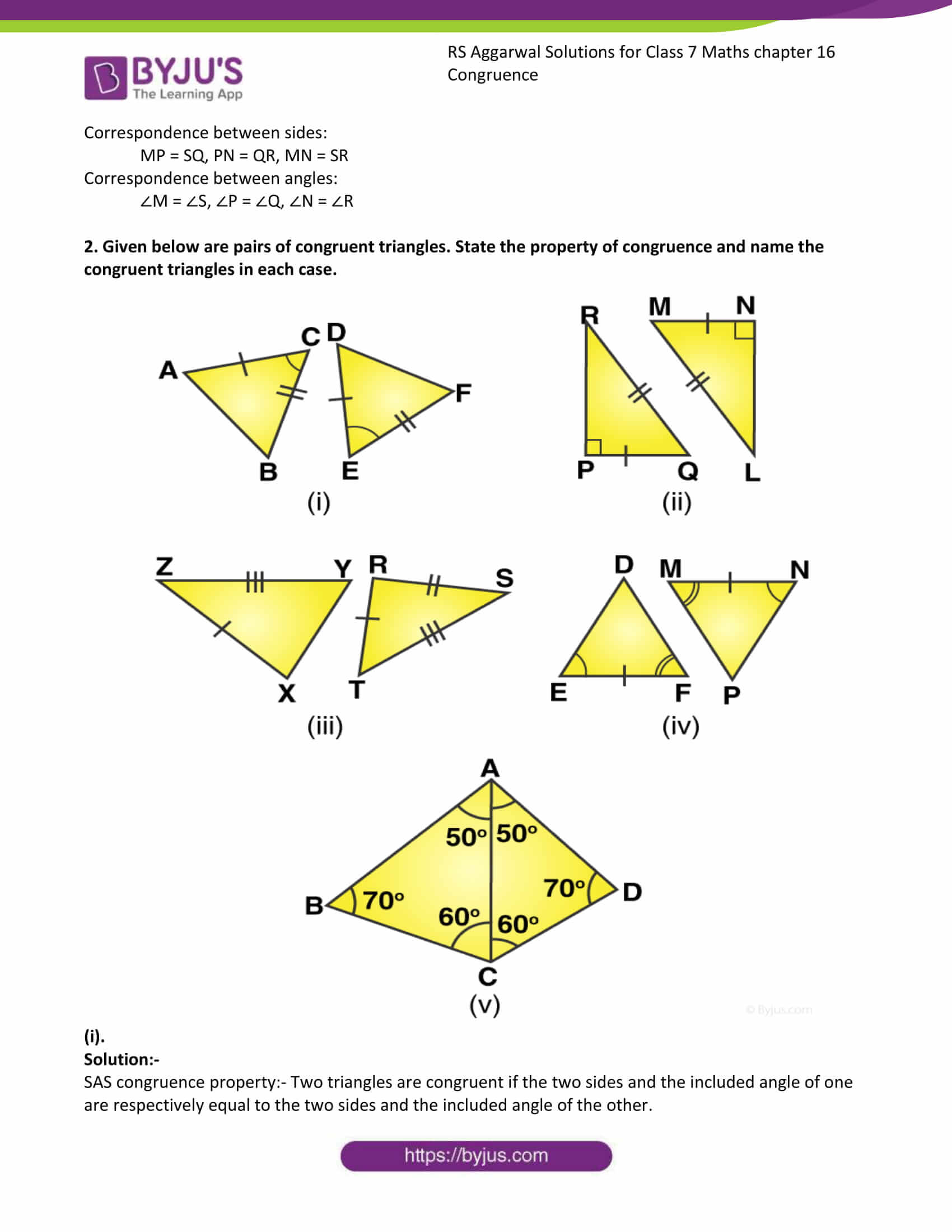 RS Aggarwal Solutions Class 7 Maths Chapter 16 Congruence 2