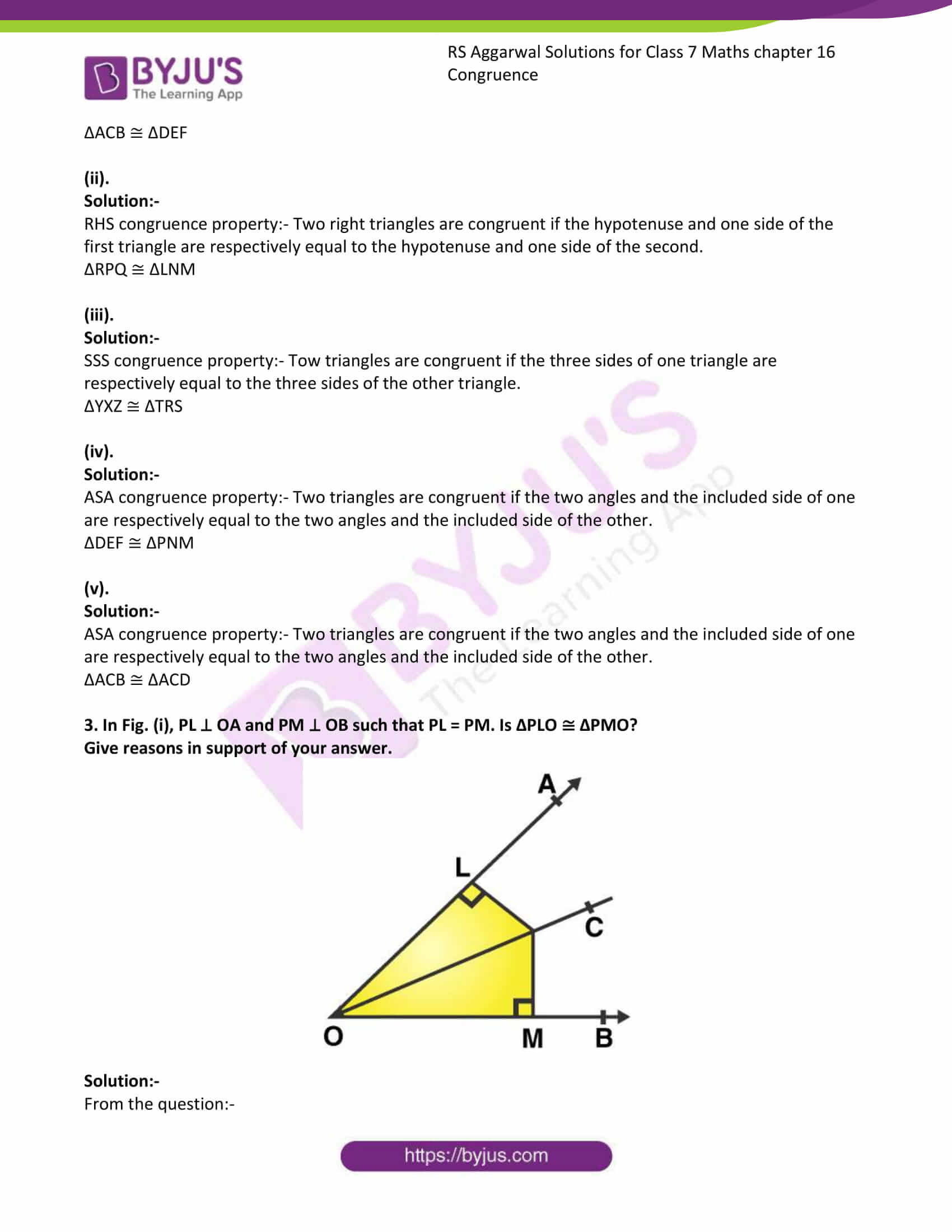 RS Aggarwal Solutions Class 7 Maths Chapter 16 Congruence 3