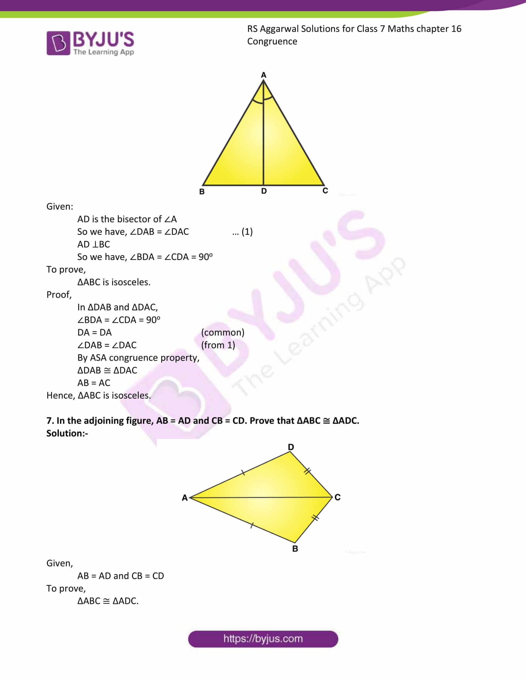 RS Aggarwal Solutions Class 7 Maths Chapter 16 Congruence 6