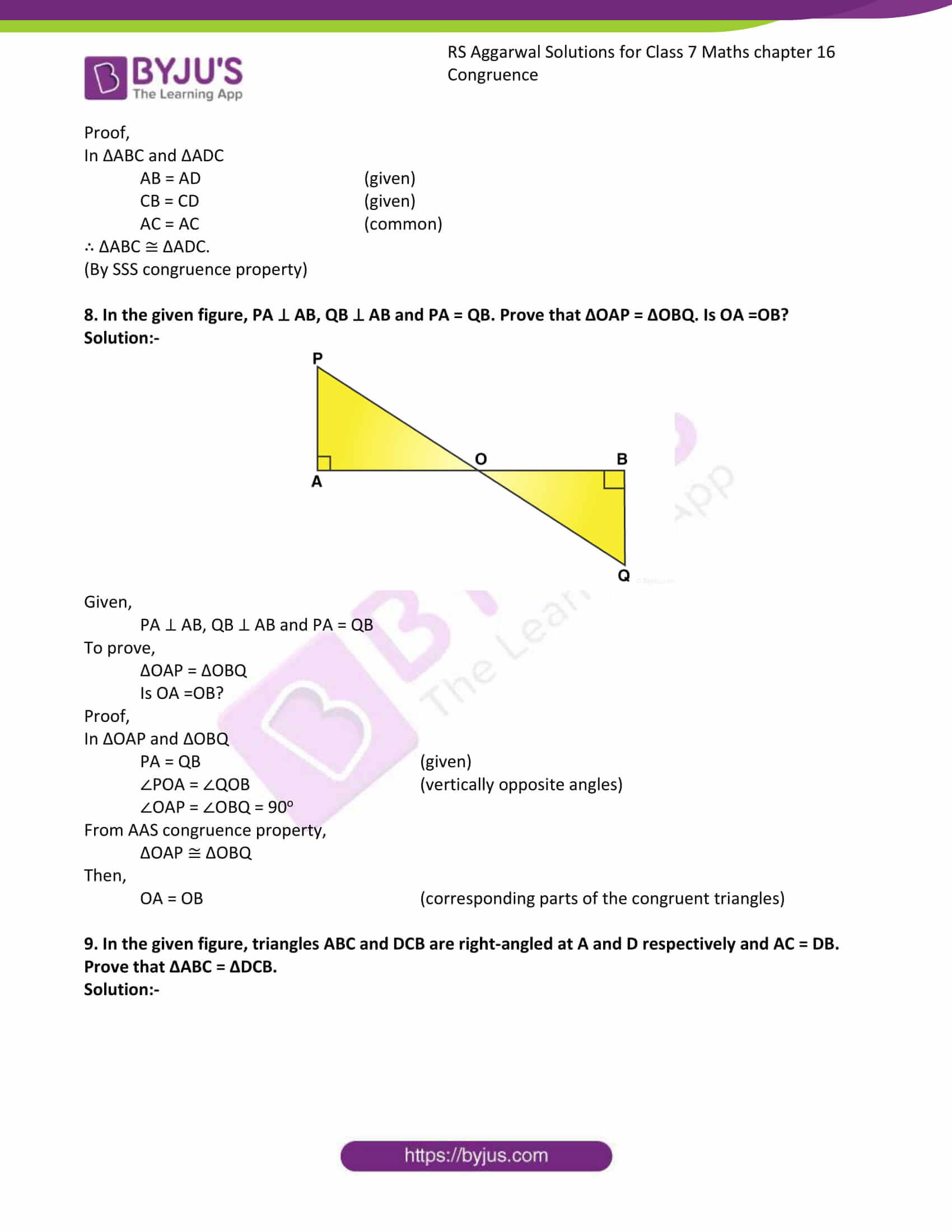 RS Aggarwal Solutions Class 7 Maths Chapter 16 Congruence 7
