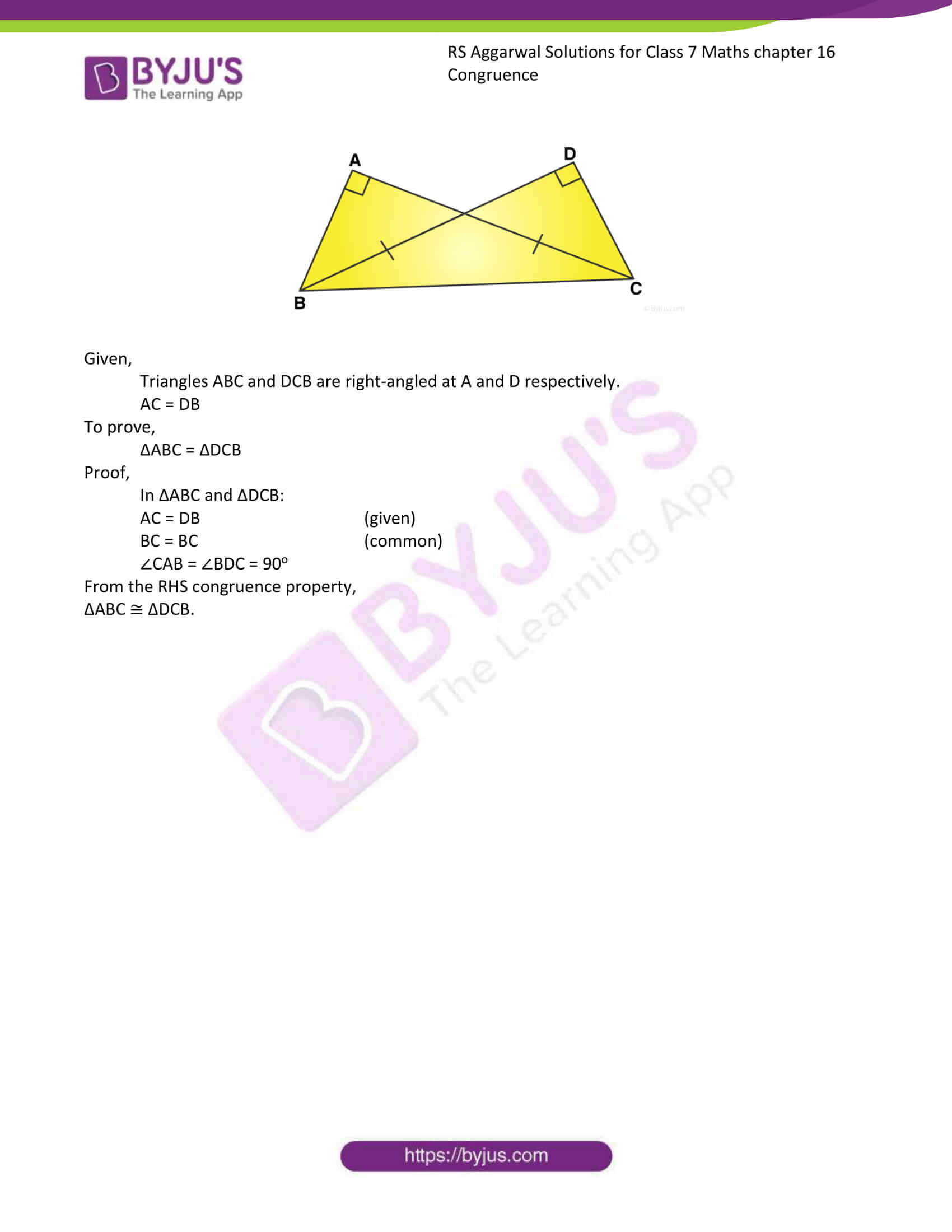 RS Aggarwal Solutions Class 7 Maths Chapter 16 Congruence 8