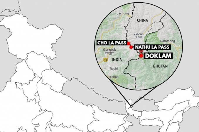 Map showing the Cho La, Nathu La and Doklam passes
