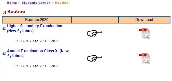 class 11 exam date sheet link