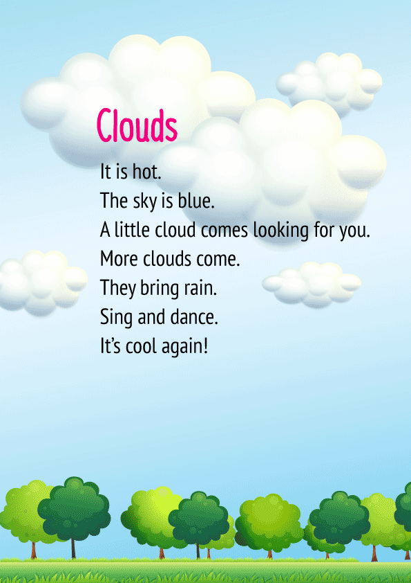 English Poem for Class 1- Clouds