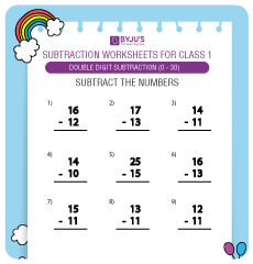 Double Digit Subtraction worksheet