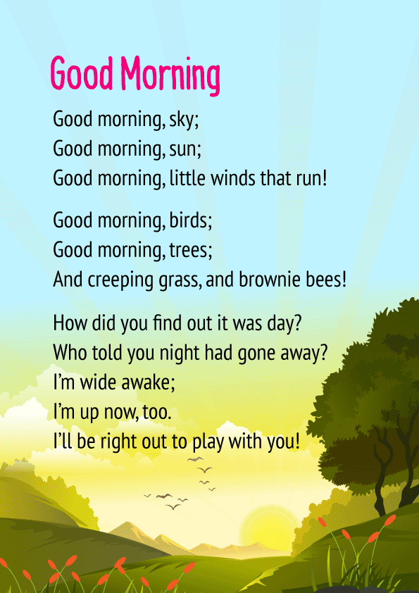 Good Morning Poem For Class 3 CBSE Students | Free PDF Download