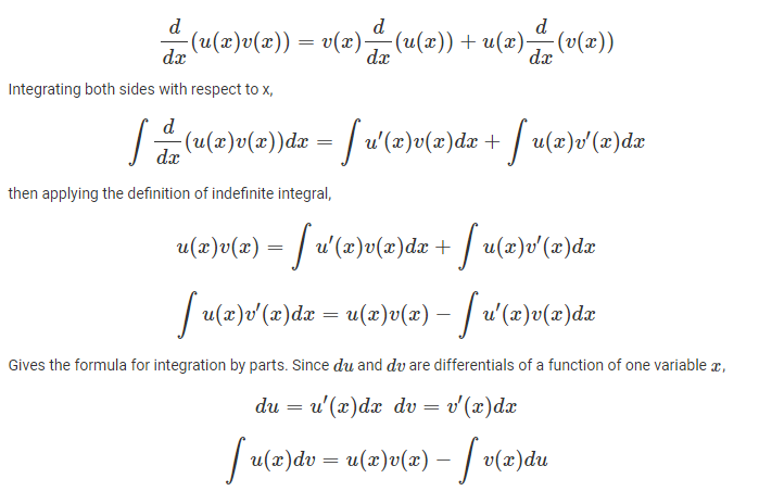 Integration by parts derivation
