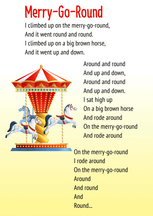 Cbse English Poem For Class 1 Merry Go Round Download