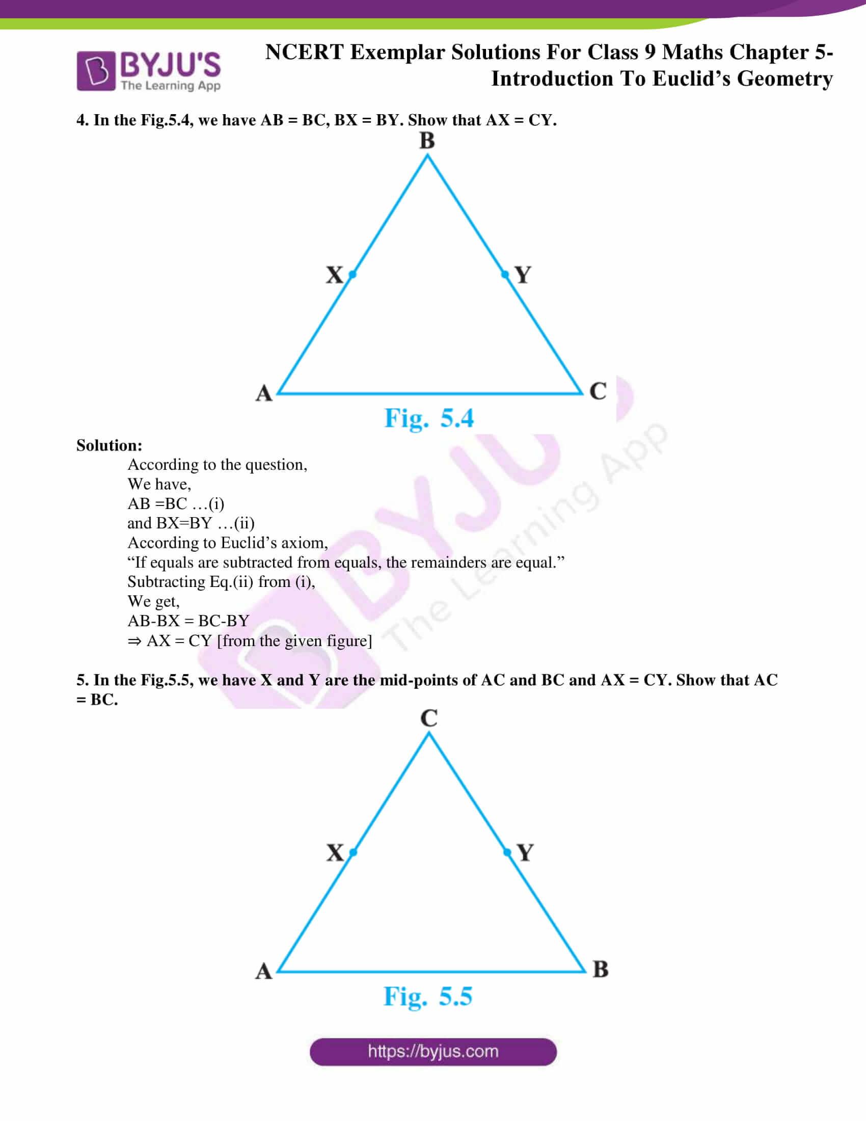 ncert exemplar solution class 9 maths chapter 5