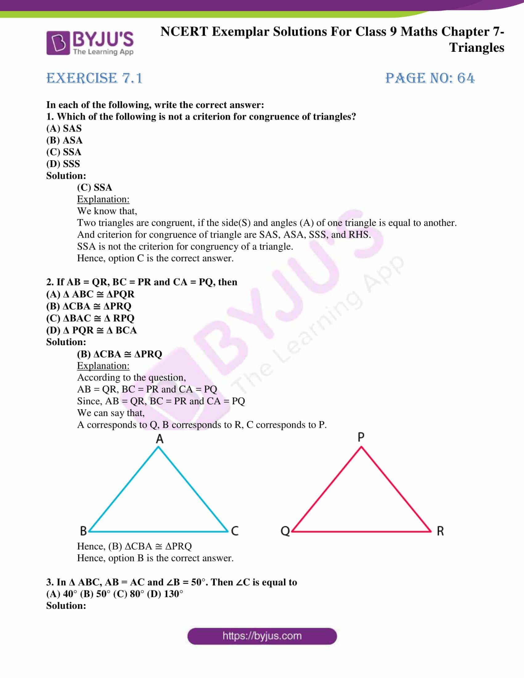 ncert exemplar solution class 9 maths chapter 7