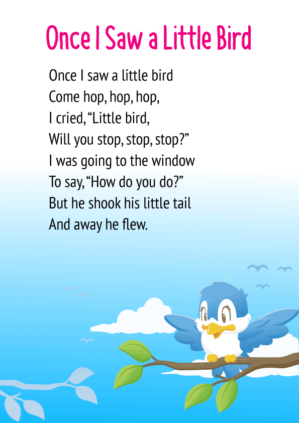 Once I saw a Little Bird Poem for Class 1