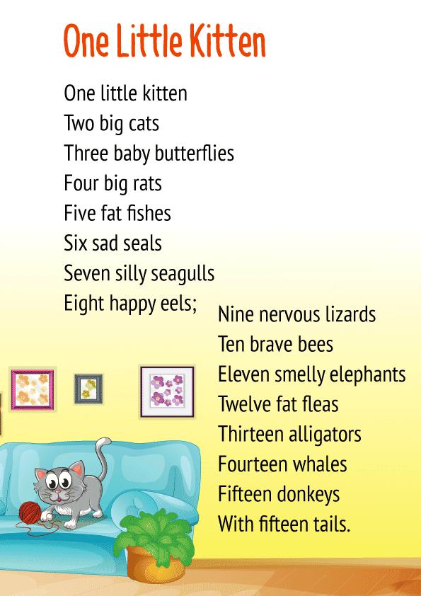 One Little Kitten Poem for class 1