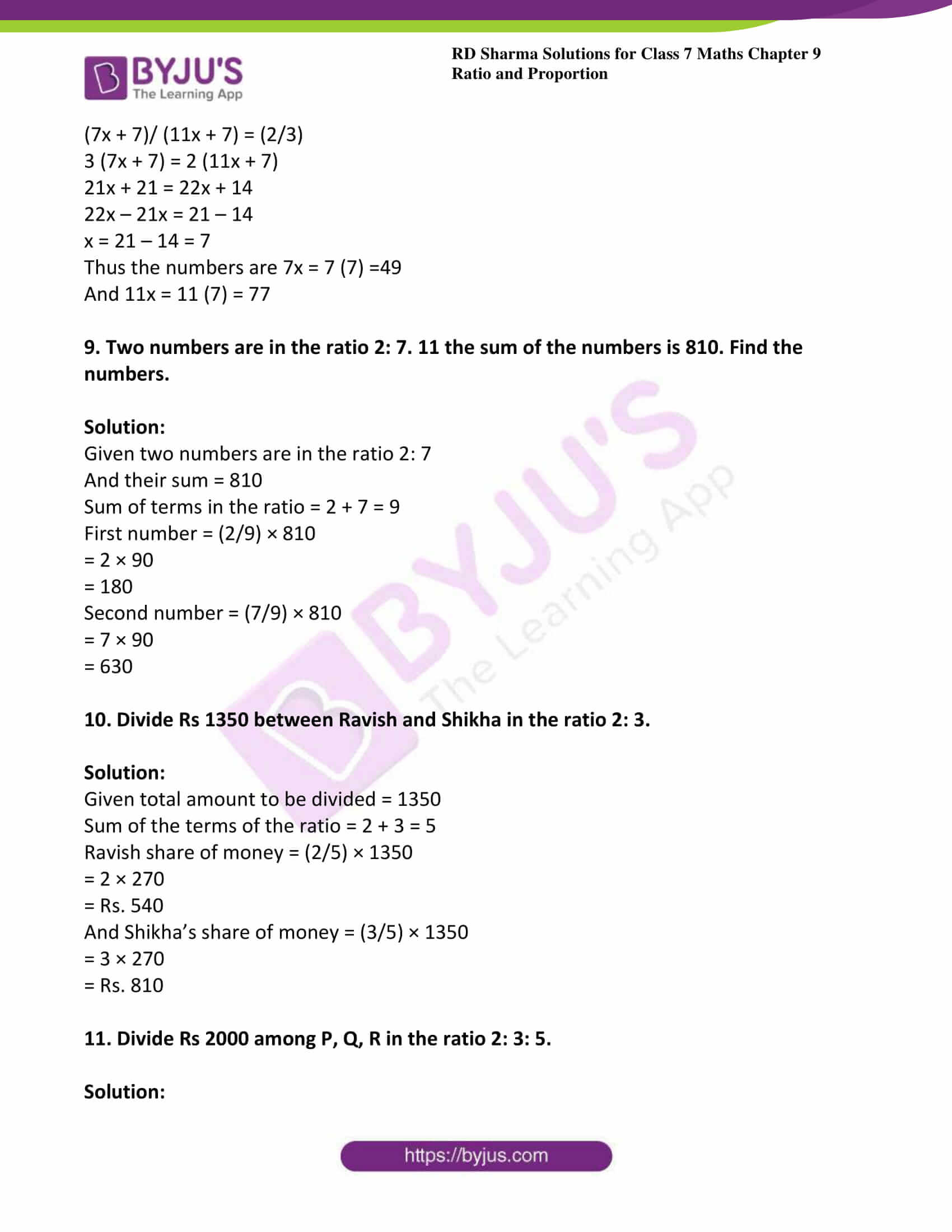rd sharma class 7 maths solution chapter 9 ex 1