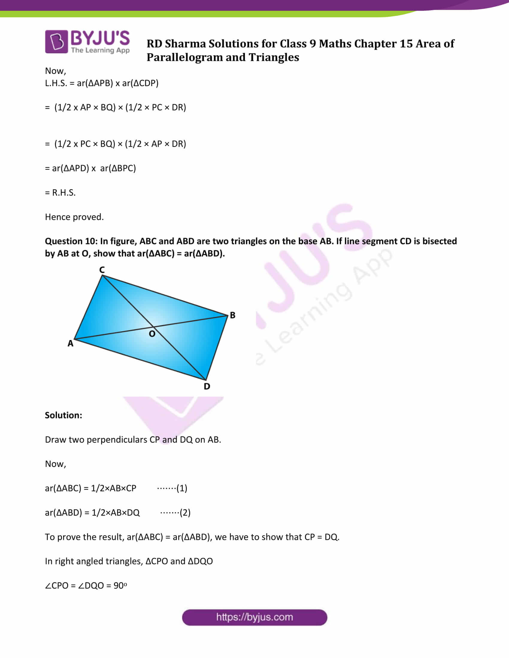 rd sharma solution class 9 maths chapter 15