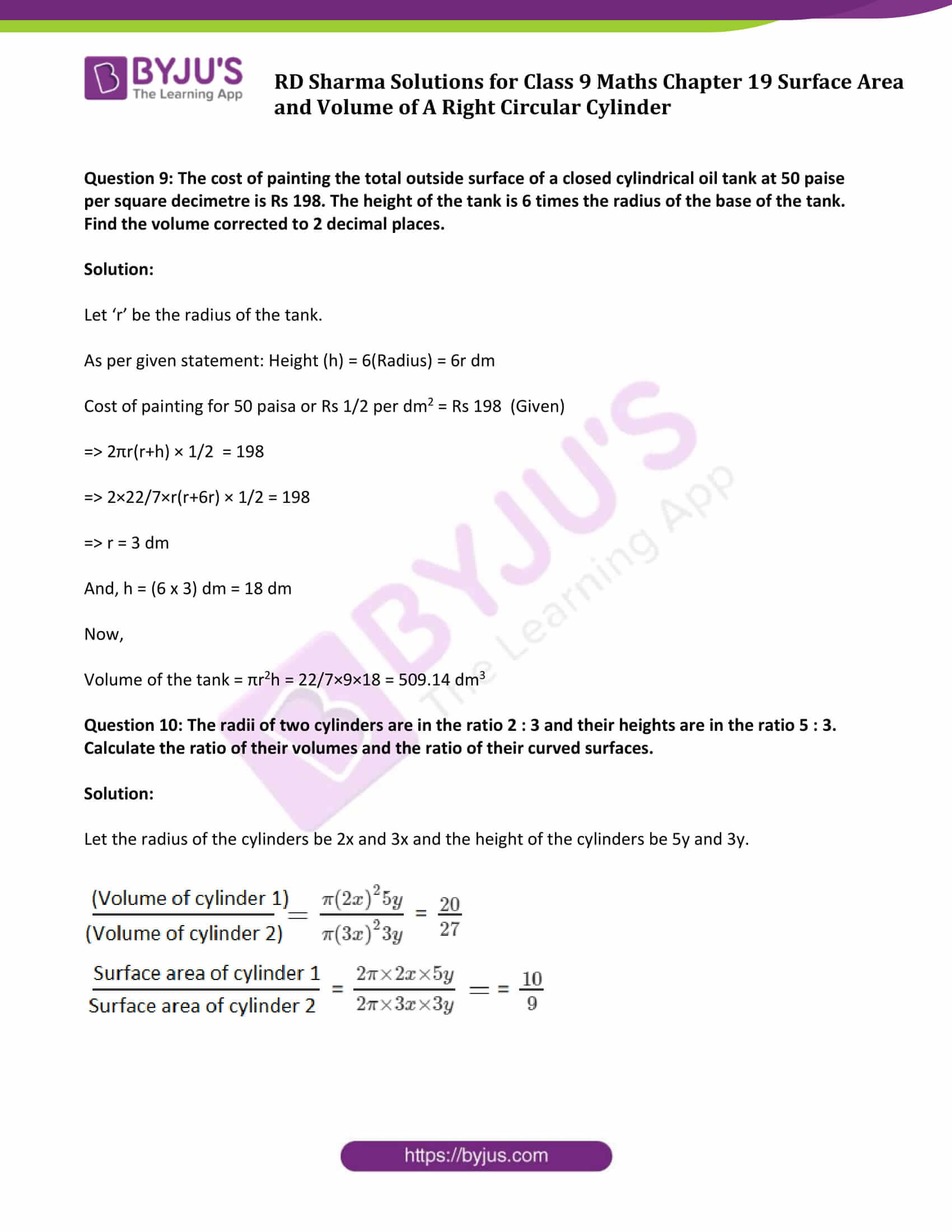 rd sharma solution class 9 maths chapter 19