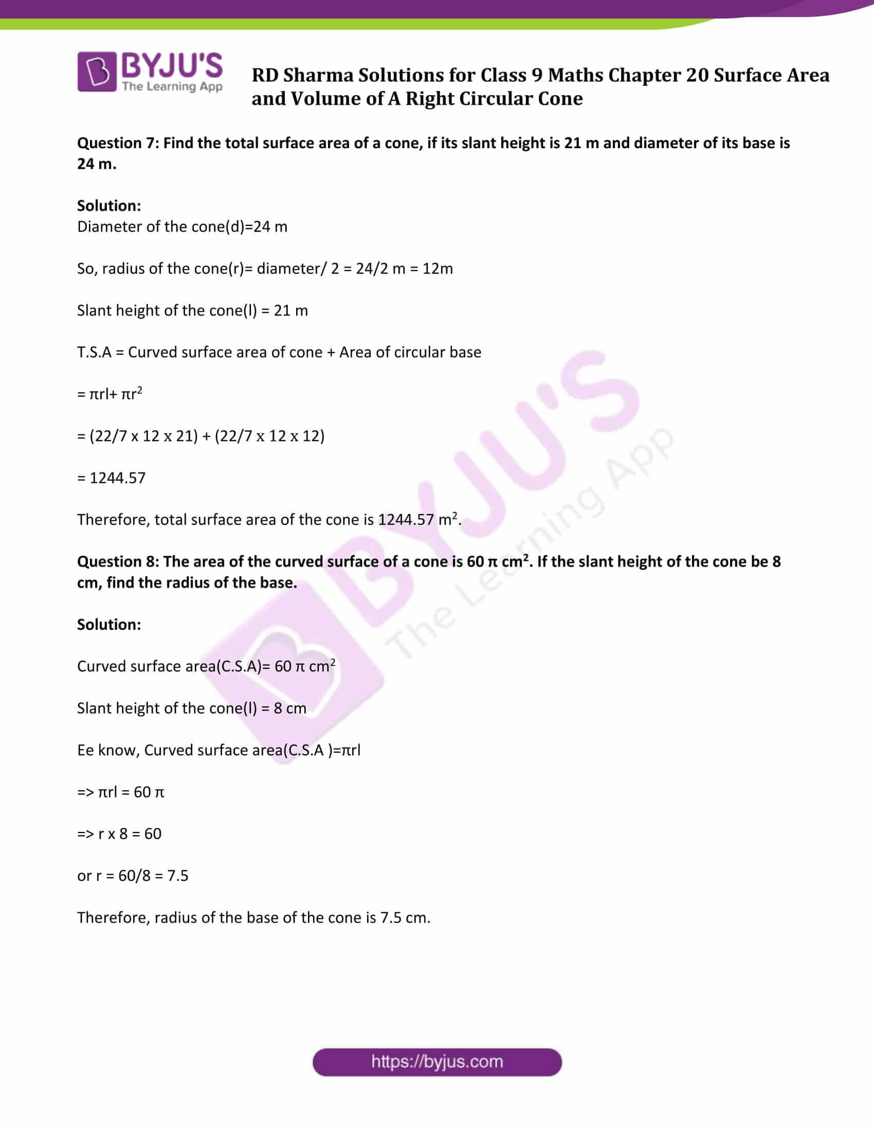 rd sharma solution class 9 maths chapter 20