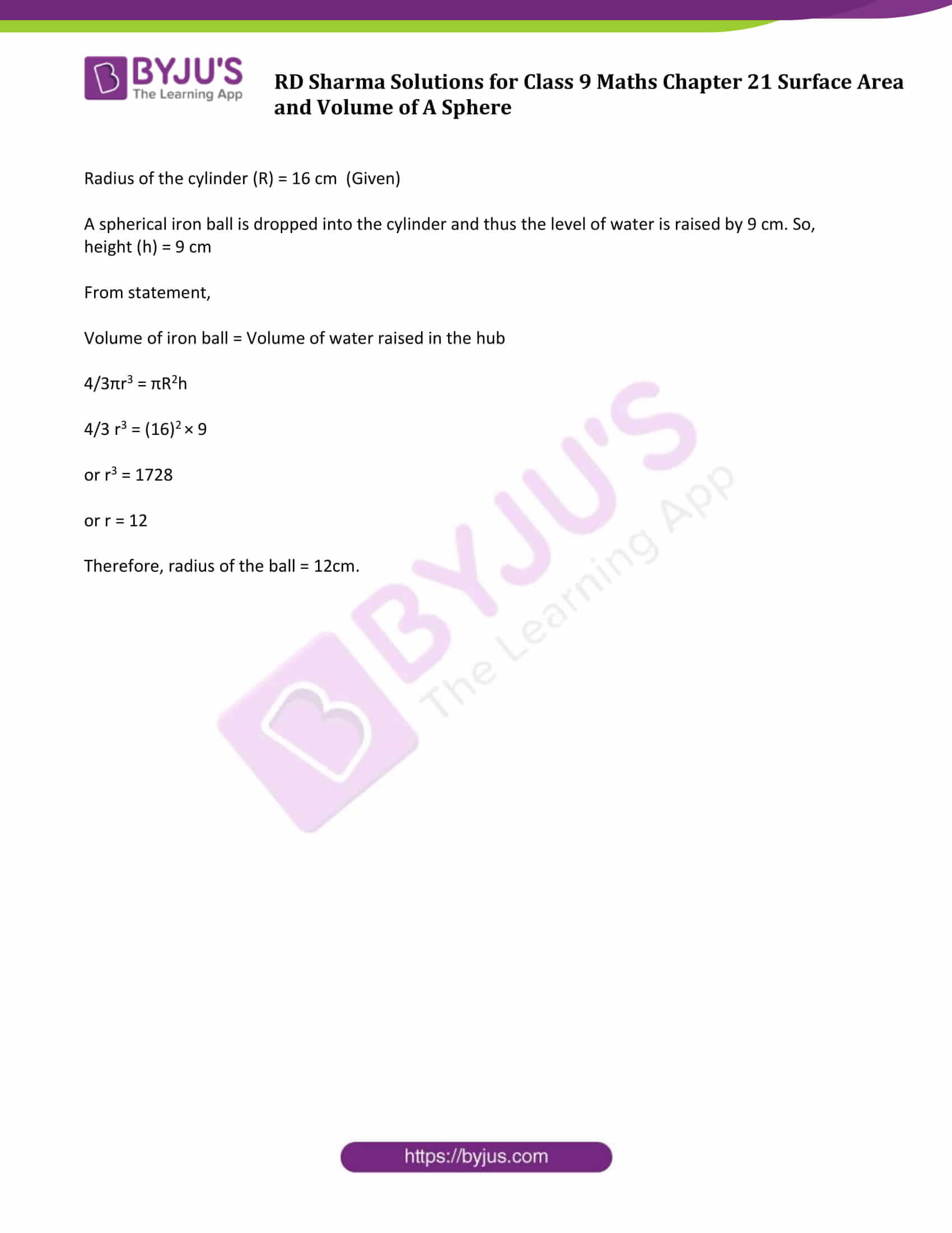 rd sharma solution class 9 maths chapter 21