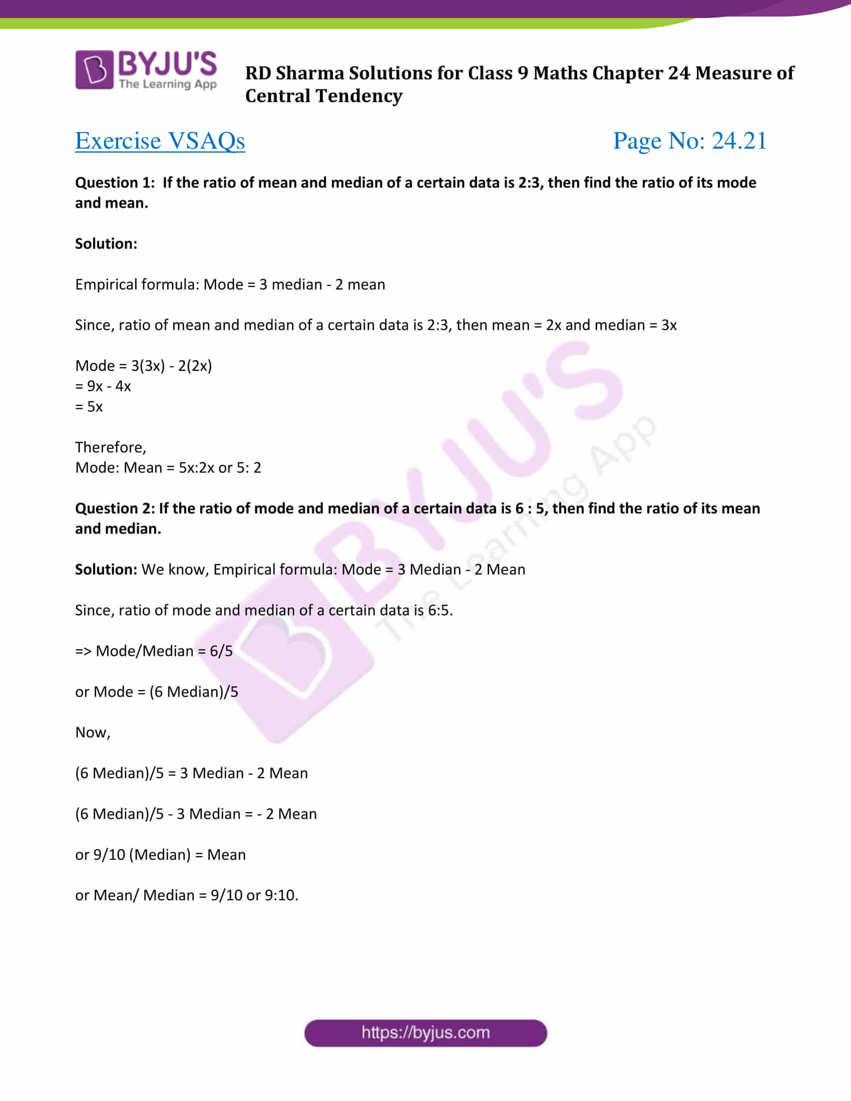 rd sharma solution class 9 maths chapter 24