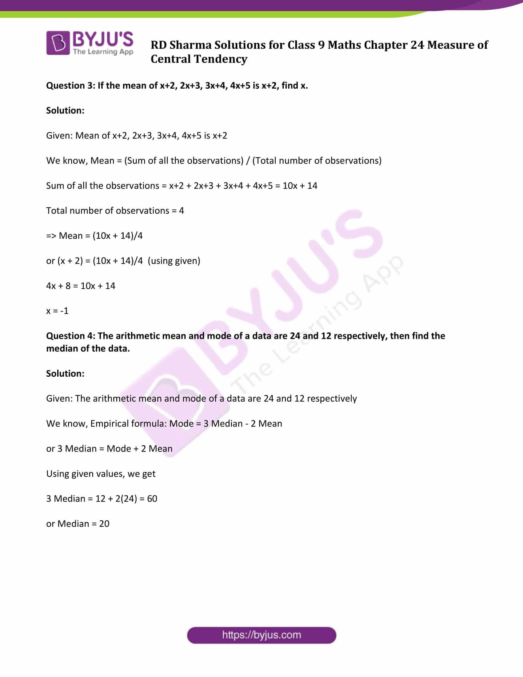 rd sharma solution class 9 maths chapter 24