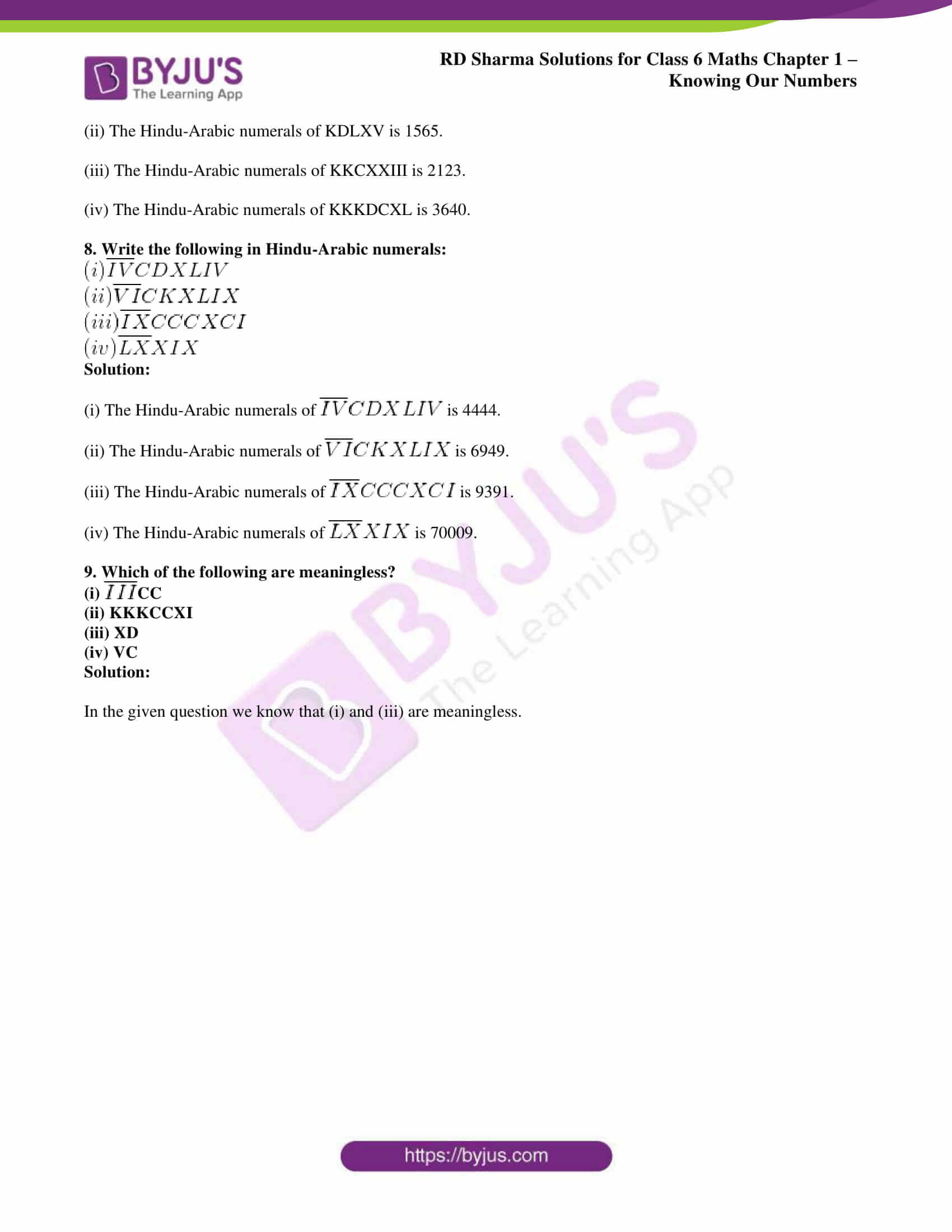 rd sharma solution class 6 maths chapter 1