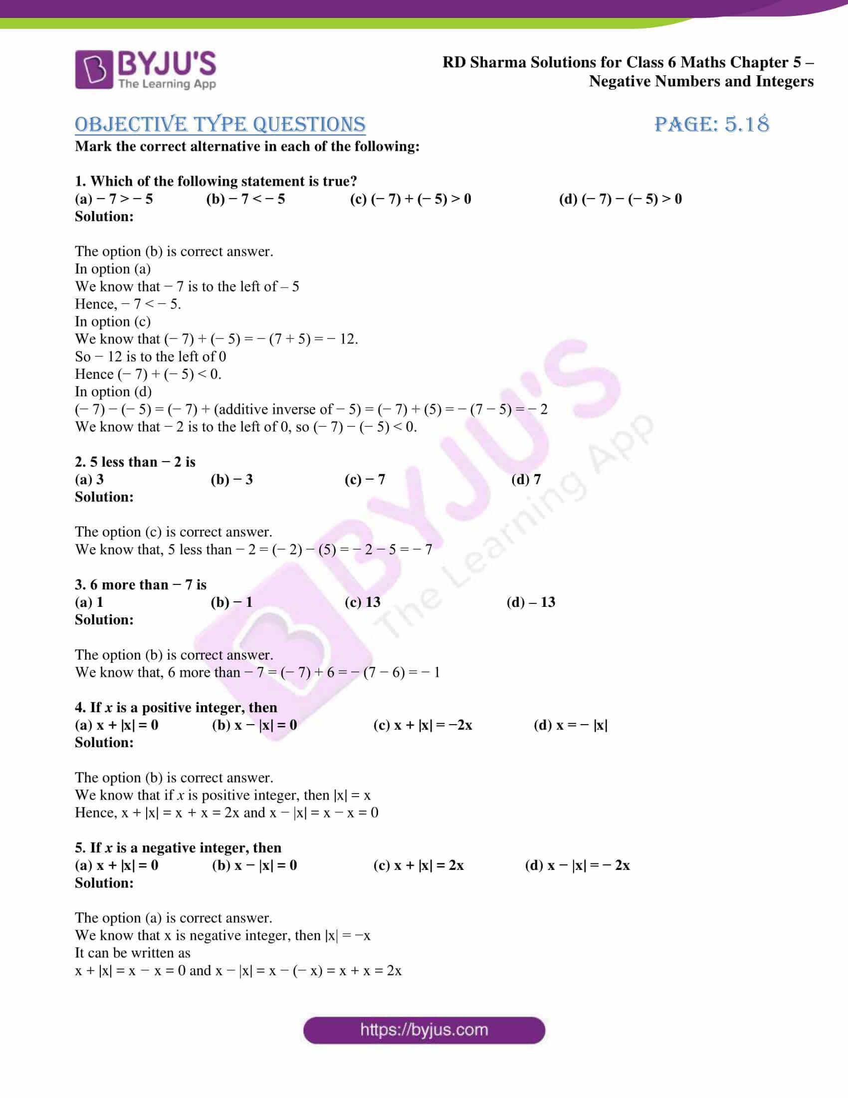 rd sharma solution class 6 maths chapter 5