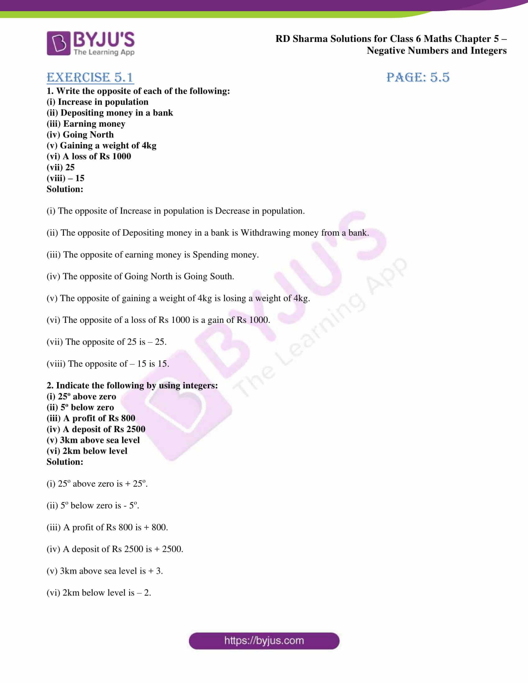 rd sharma solution class 6 maths chapter 5 ex 1