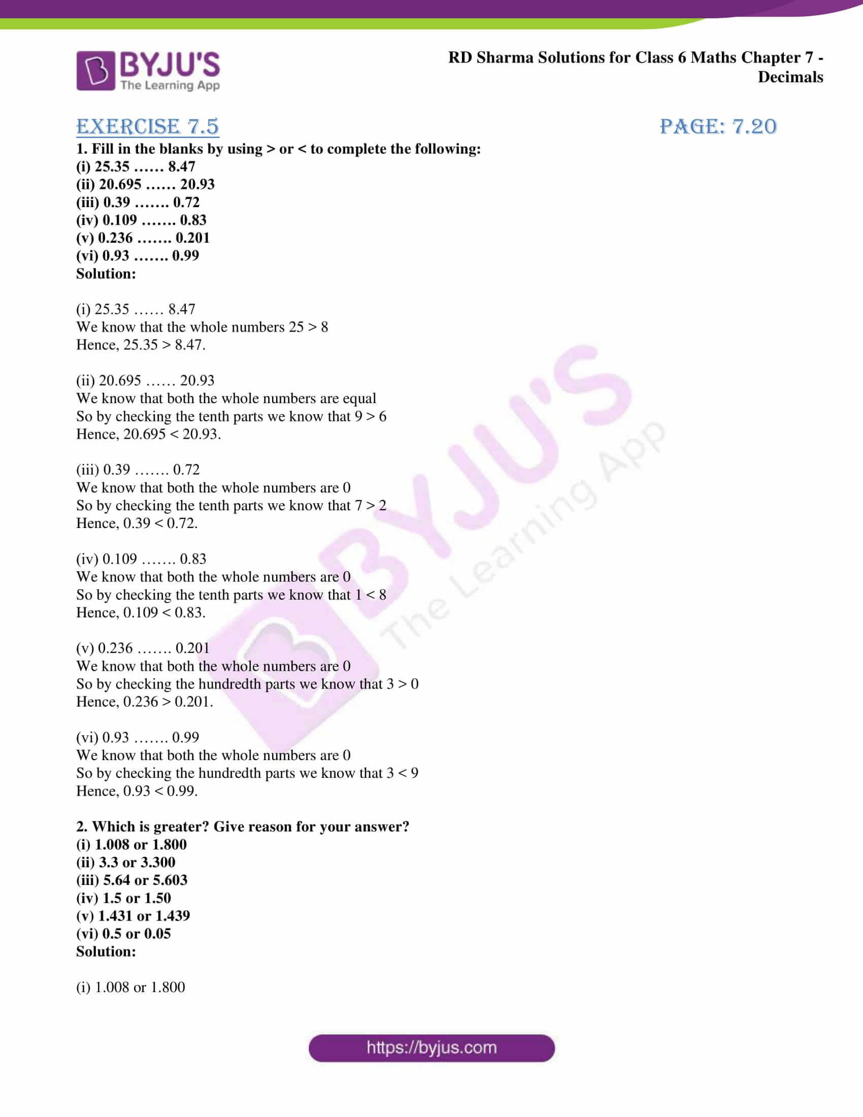 rd sharma solution class 6 maths chapter 7 ex 5