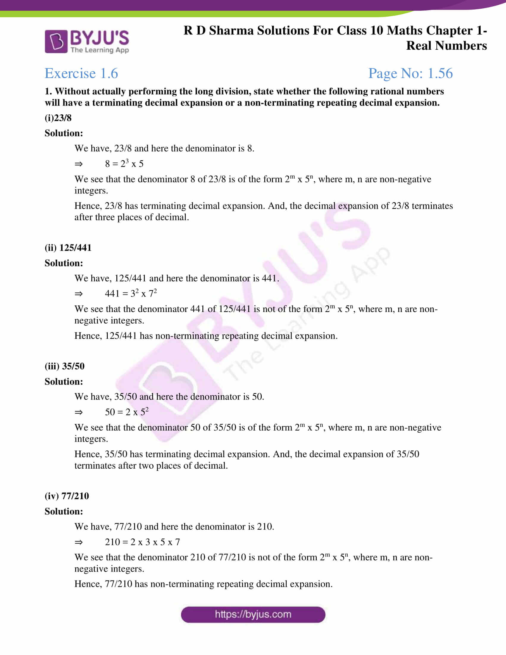 rd sharma solutions for class 10 chapter 1 ex 1.6