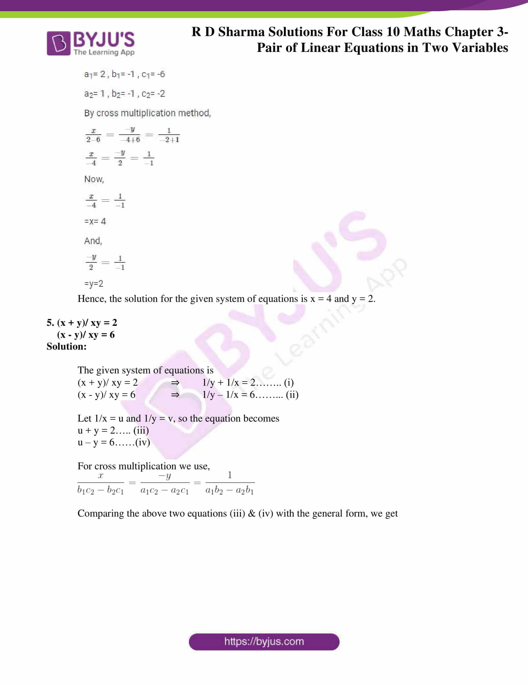 rd sharma solutions for class 10 chapter 3 ex 3.4