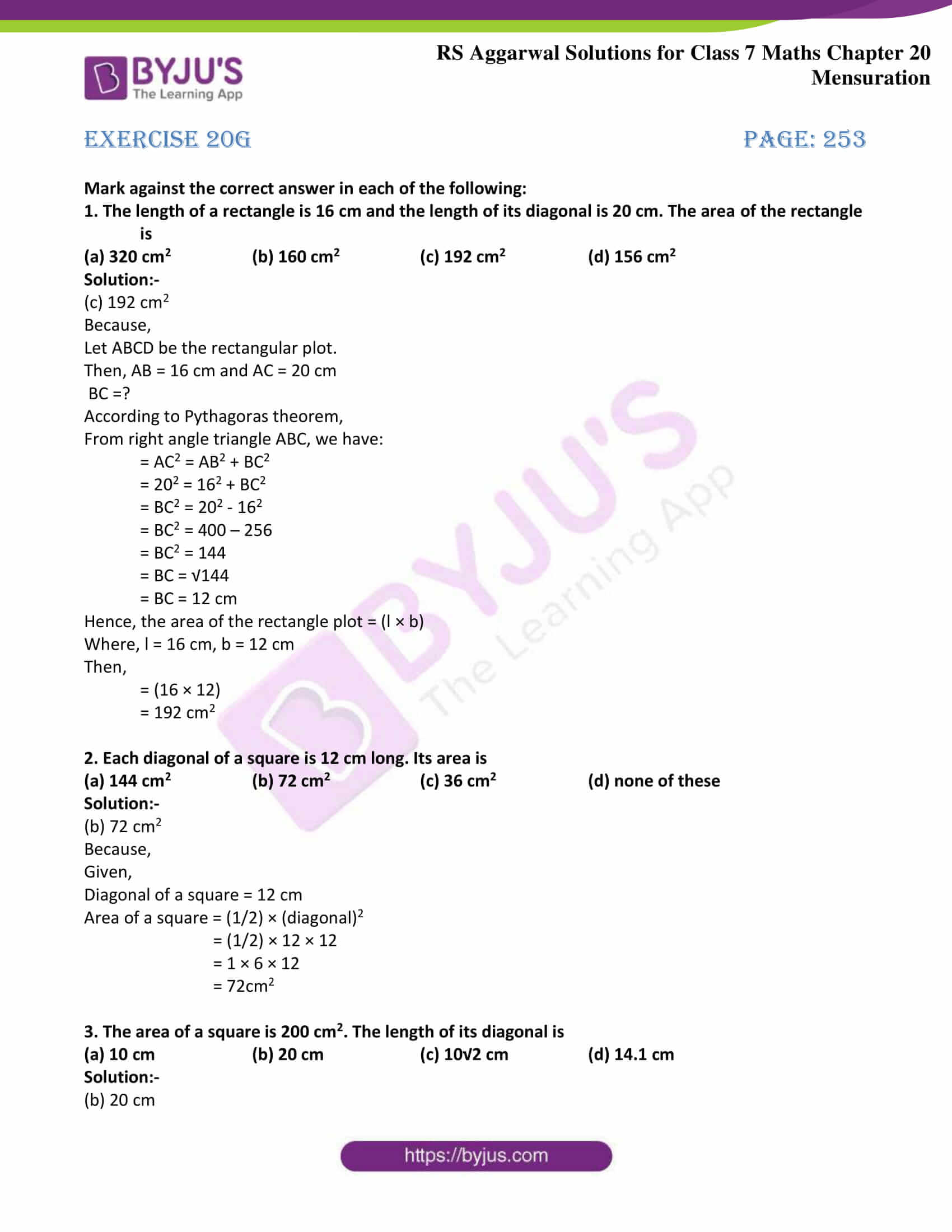 rs aggarwal solution class 7 maths chapter Exercise 20G
