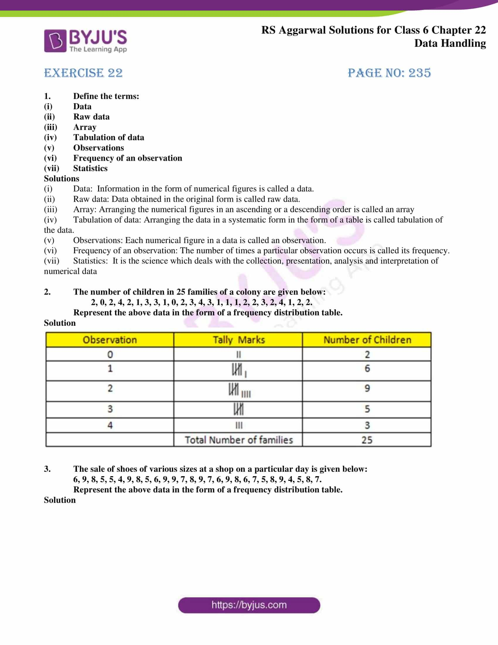 rs aggarwal solution class 6 maths chapter 22