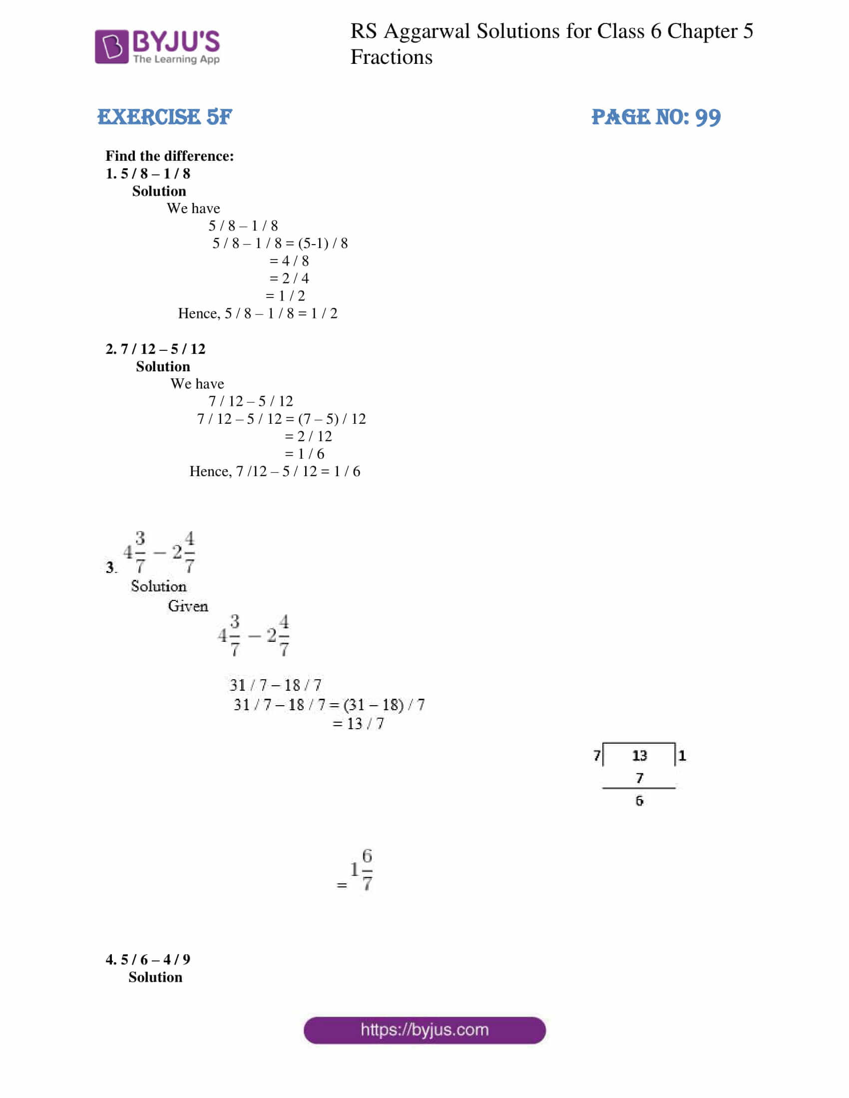 rs aggarwal solution class 6 maths chapter 5 ex 5f