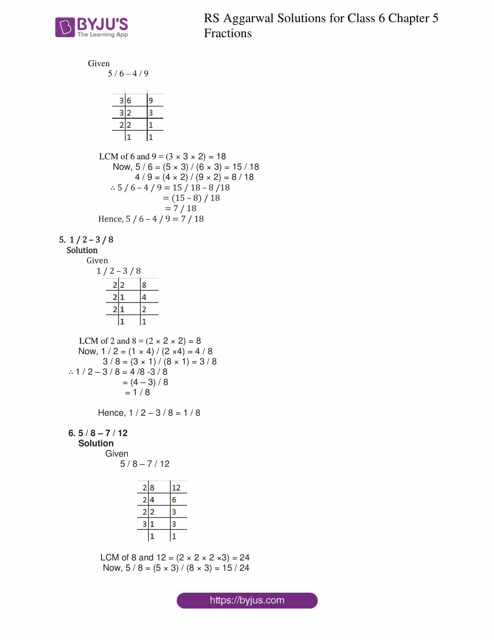 rs aggarwal solution class 6 maths chapter 5