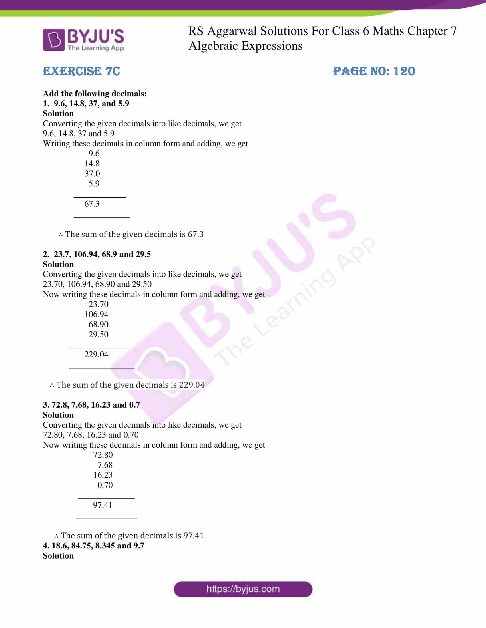 rs aggarwal solution class 6 maths chapter 7