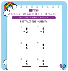 Single Digit Subtraction worksheet