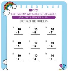 Single Digit Subtraction worksheet