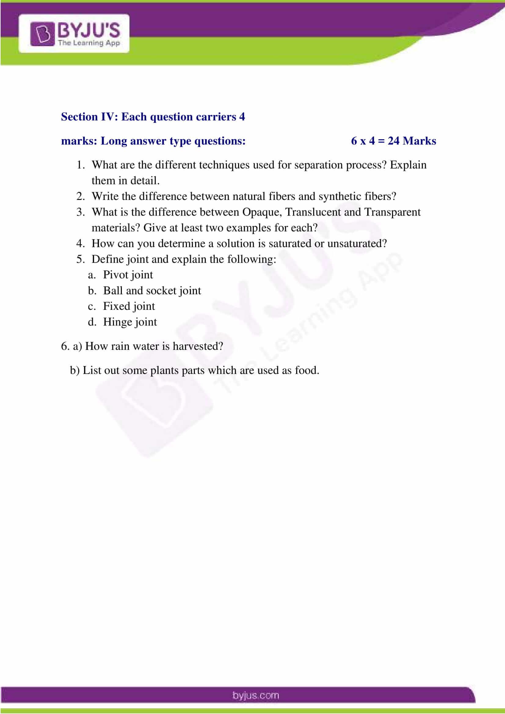 CBSE Sample Paper Class 6 Science Set 5 4