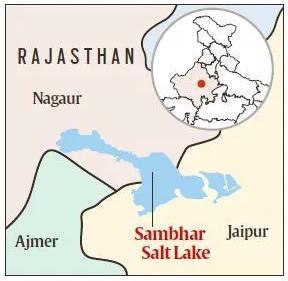 Rajasthan Map - Sambhar Lake