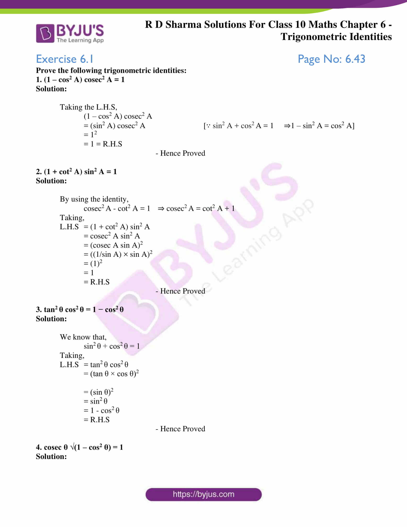 RD Sharma Solutions for Class 10 Chapter 6 Trigonometric Identities 01