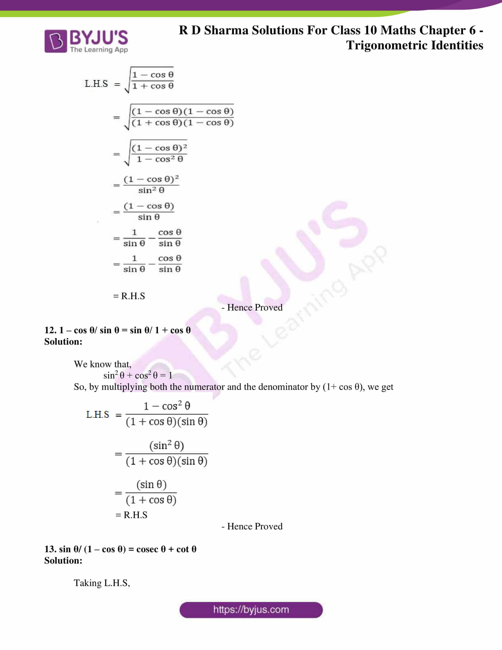 RD Sharma Solutions for Class 10 Chapter 6 Trigonometric Identities 06