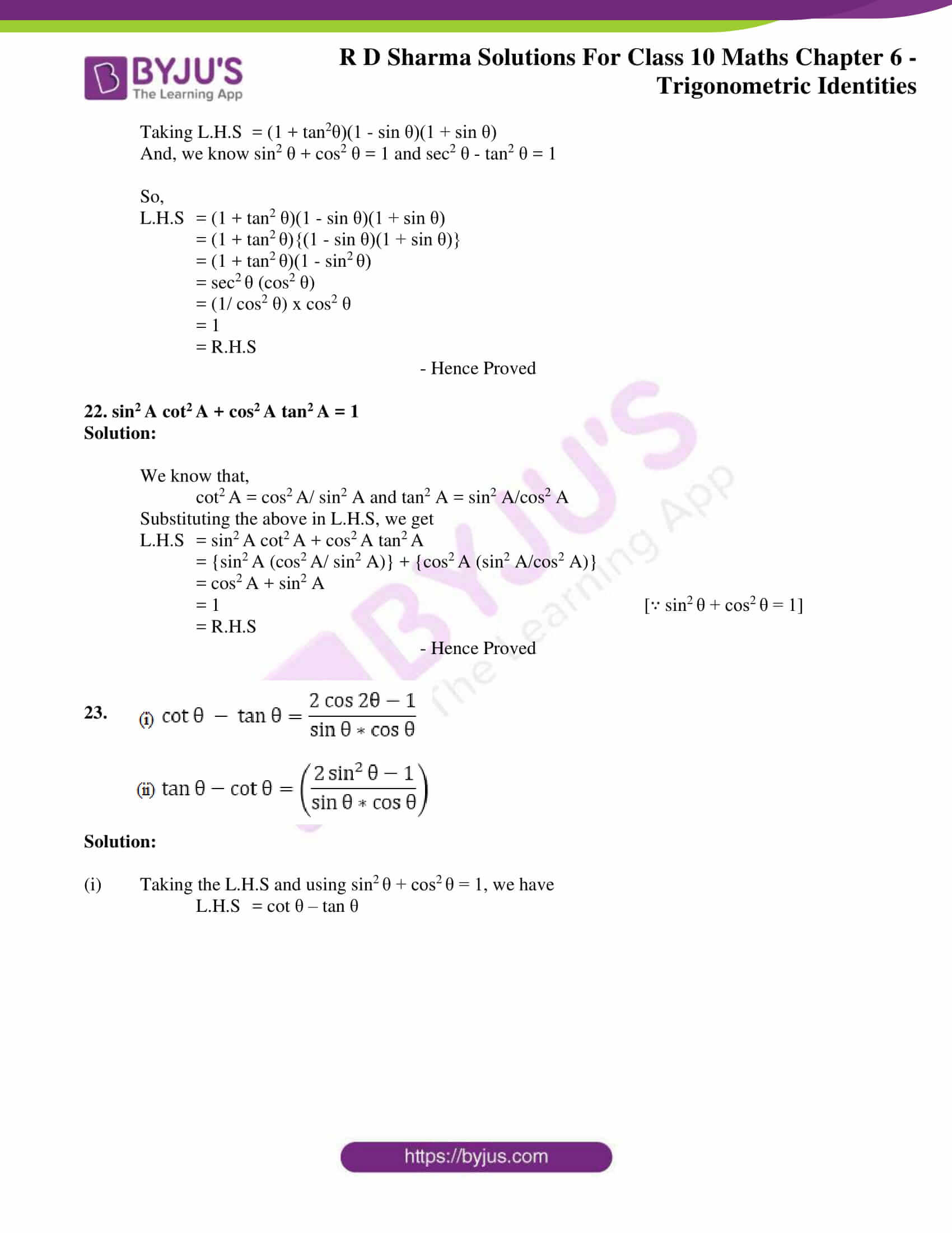RD Sharma Solutions for Class 10 Chapter 6 Trigonometric Identities 11