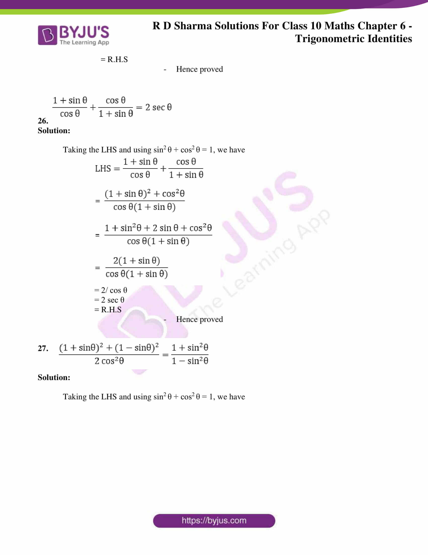 RD Sharma Solutions for Class 10 Chapter 6 Trigonometric Identities 14