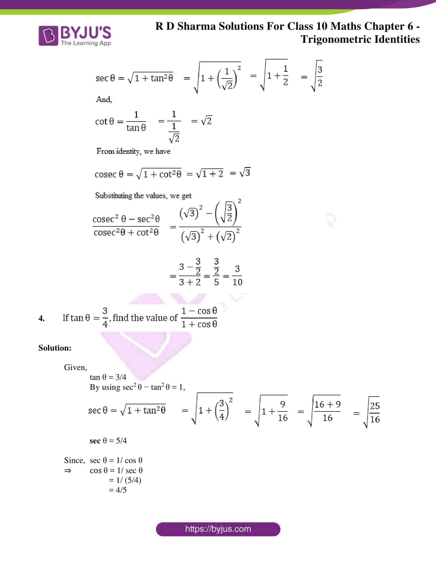 RD Sharma Solutions for Class 10 Chapter 6 Trigonometric Identities 32