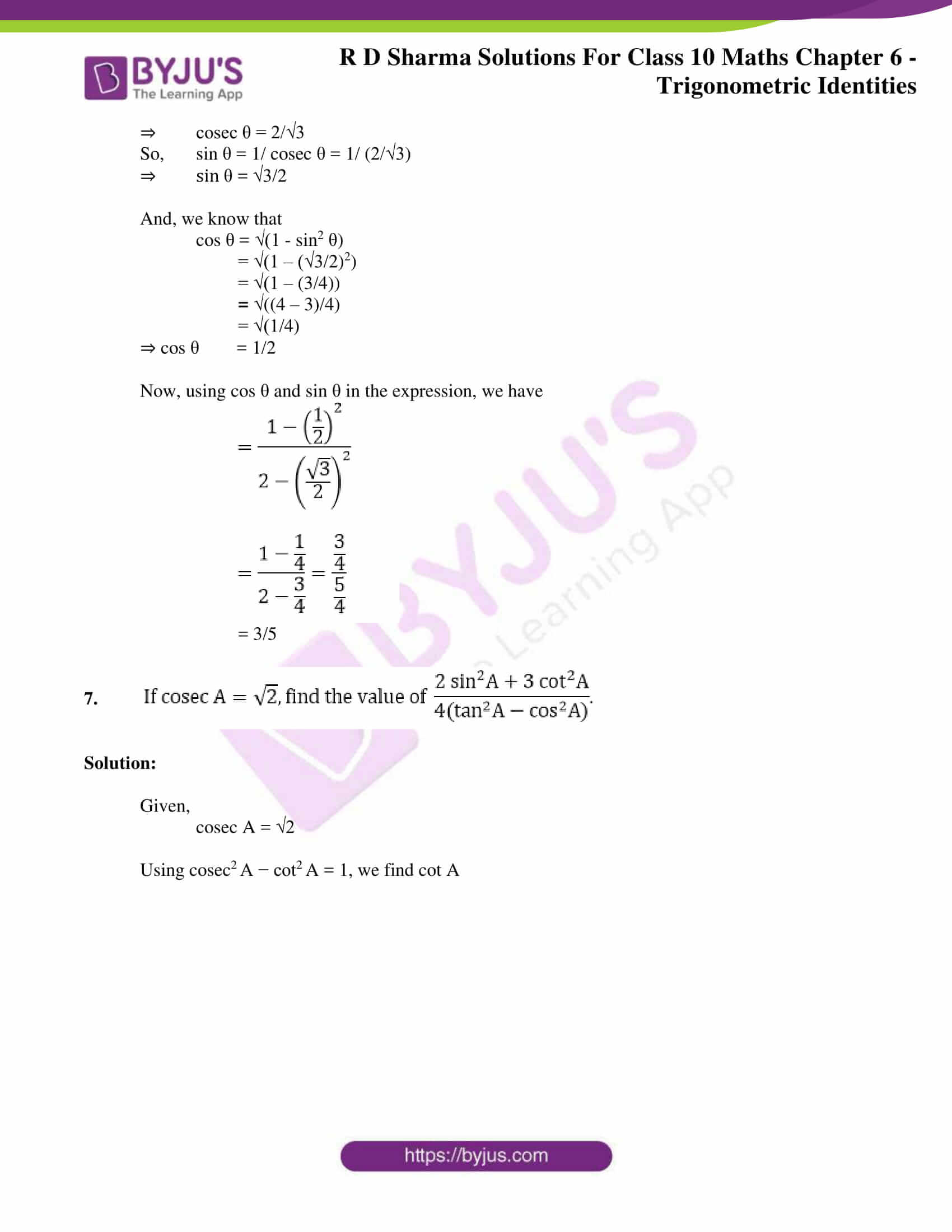 RD Sharma Solutions for Class 10 Chapter 6 Trigonometric Identities 34