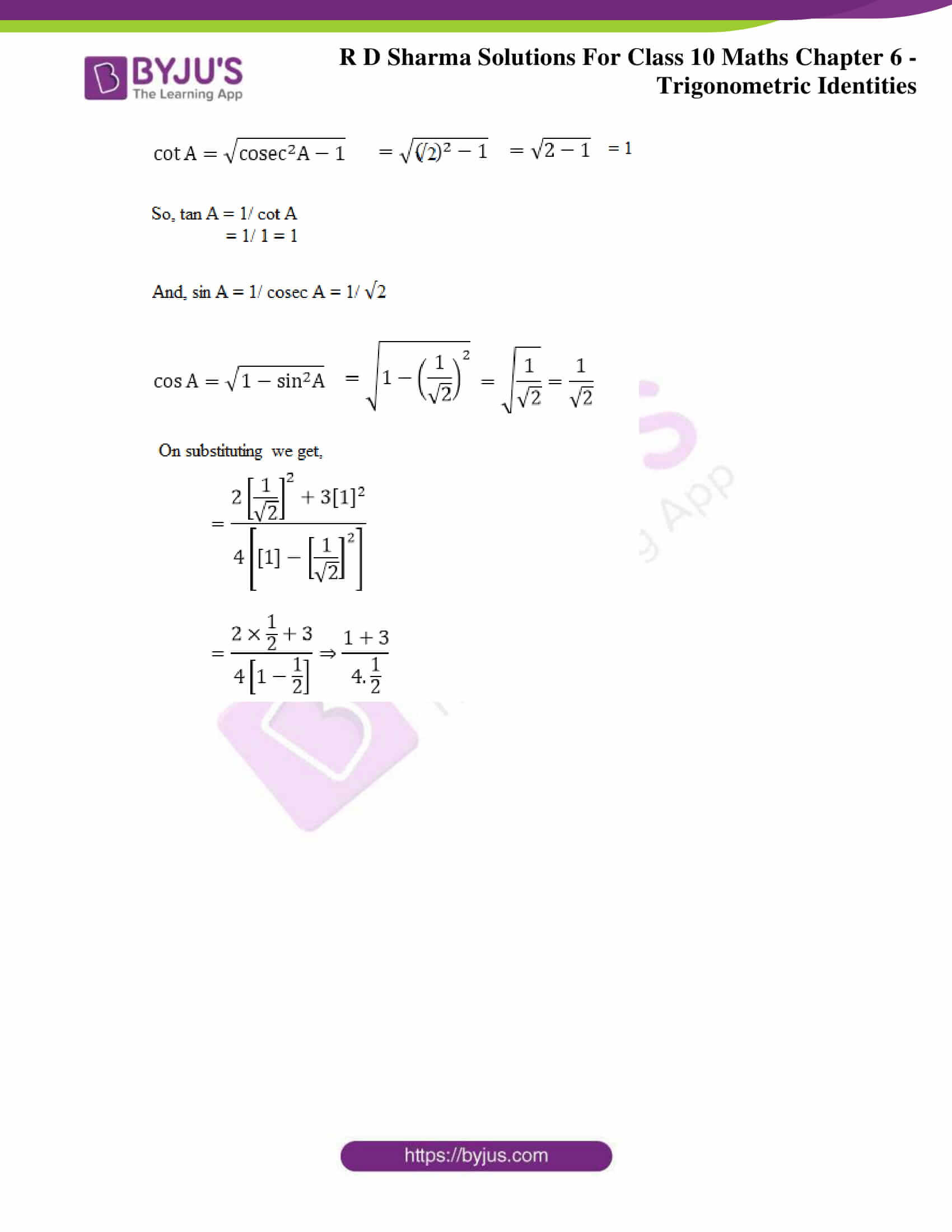 RD Sharma Solutions for Class 10 Chapter 6 Trigonometric Identities 35