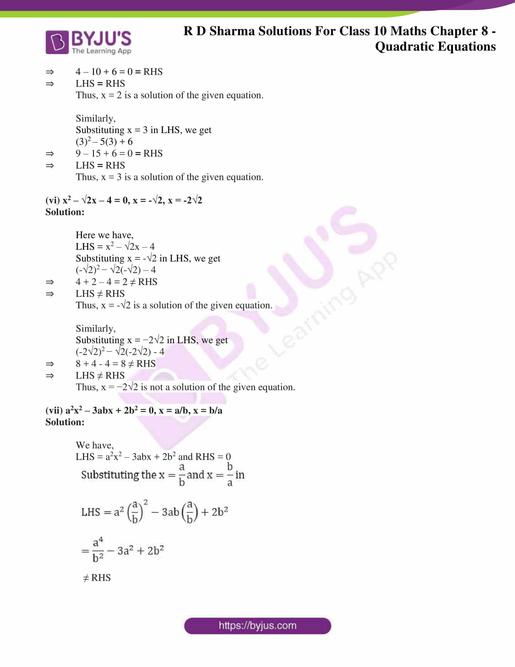 RD Sharma Solutions for Class 10 Chapter 8 Quadratic Equations 06