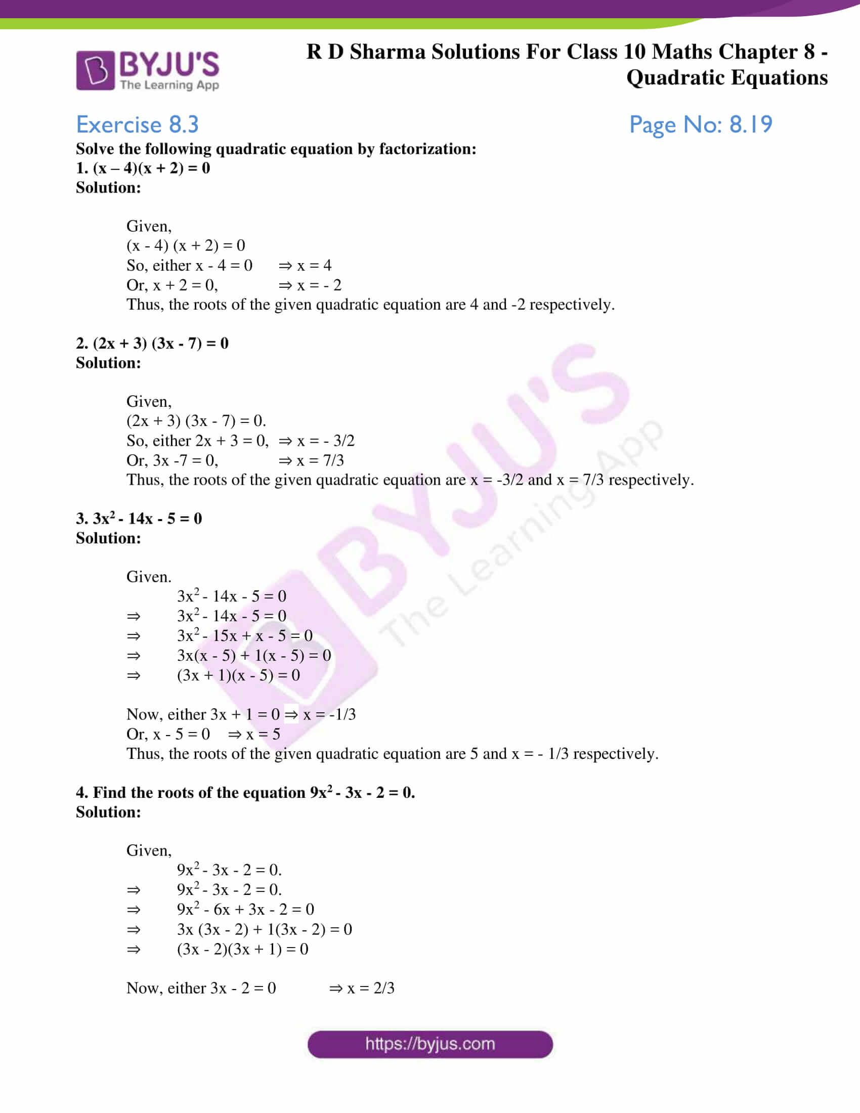 RD Sharma Solutions for Class 10 Chapter 8 Quadratic Equations 10
