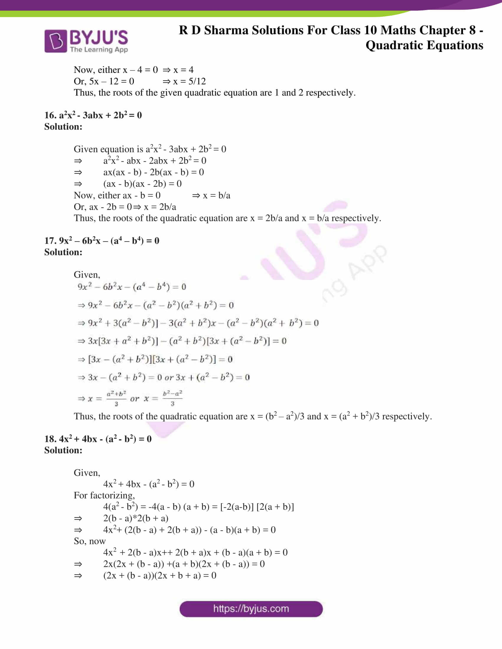 RD Sharma Solutions for Class 10 Chapter 8 Quadratic Equations 16