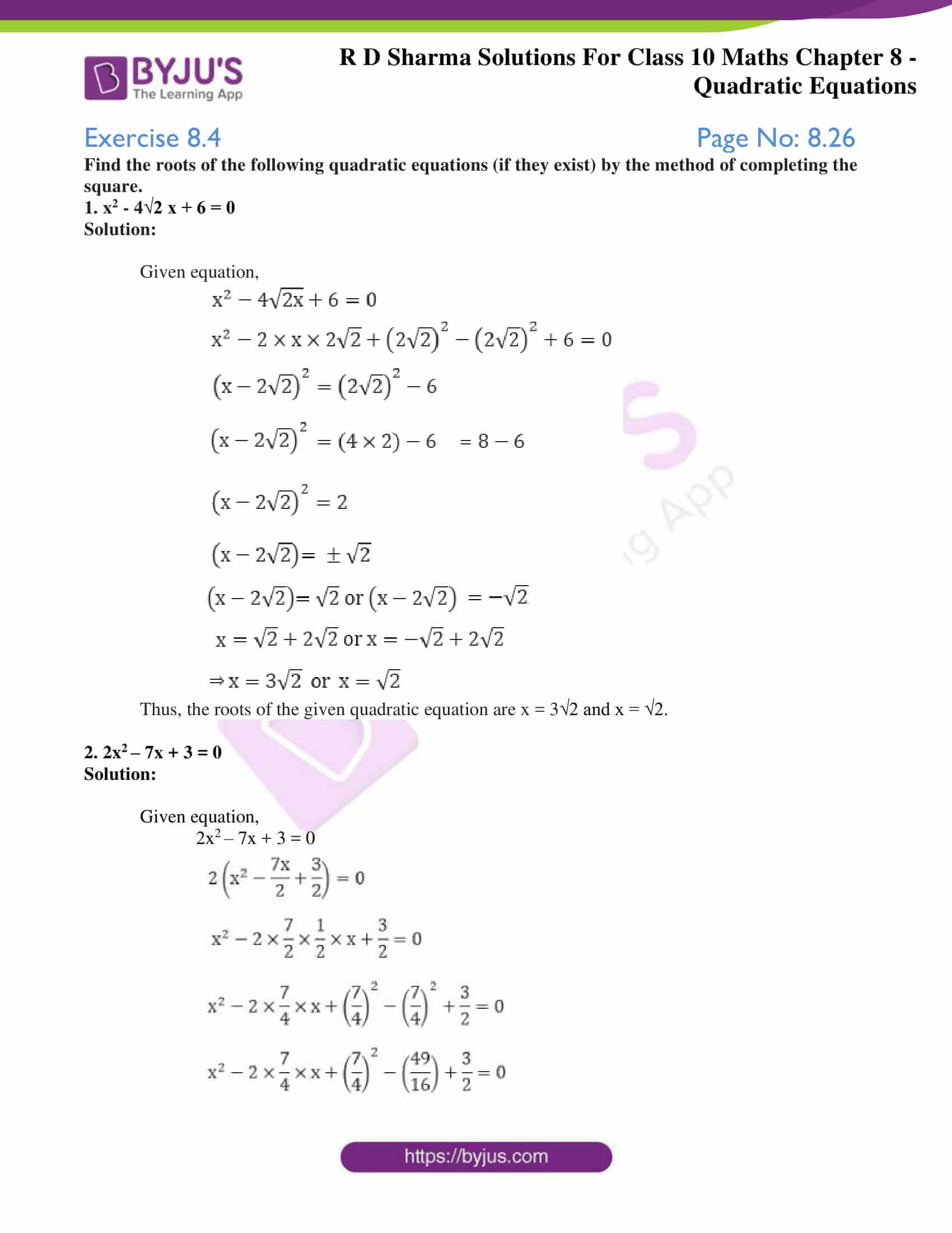 RD Sharma Solutions for Class 10 Chapter 8 Quadratic Equations 24